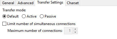 Filezilla transfer settings